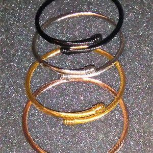 Jewelry - 4PCS Stainless Steel Cuff Bracelets Adjustable